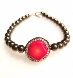 Coral and Hematite Bracelet