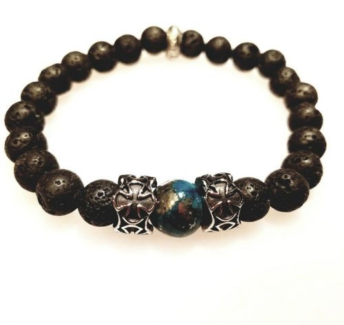 Lava and Blue Dyed Pyrite Men's Bracelet