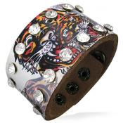 Genuine Leather Bracelet. Tiger with Crystals.