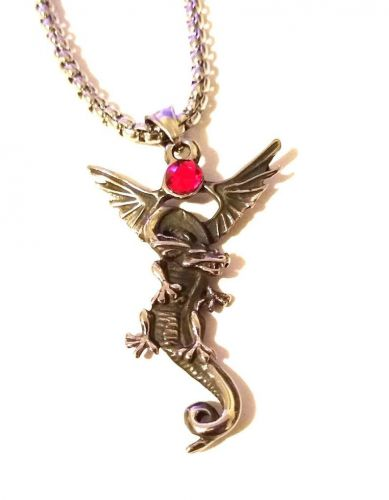 Dragon Necklace with Red Crystal