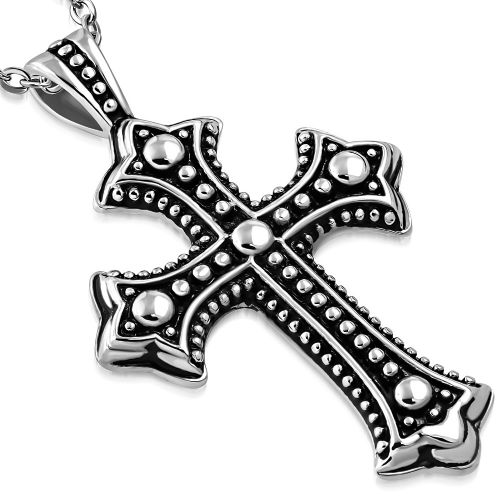 Gothic Style Cross Pendant and Chain