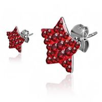 Sparkly Red Star Earrings
