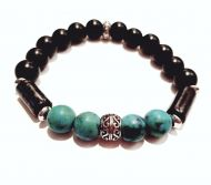 Aqua and Black Gemstone Bracelet