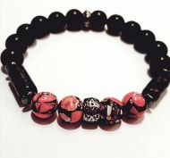 Black and Red Gemstone Bracelet