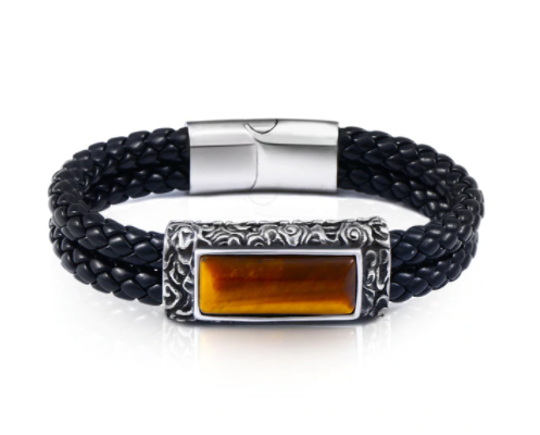 Tiger Eye Leather Bangle Bracelet