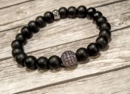 Black Bracelet with Pave Crystal