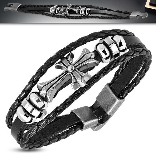 Leather Celtic Cross Bracelet