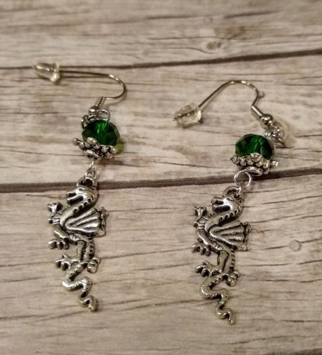 Dragon Earrings with Green Crystal
