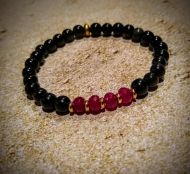 Garnet Birthstone and Black Obsidiian Bracelet