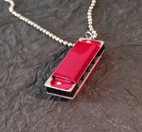 Harmonica Pendant Necklace Red
