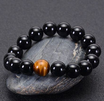 Obsidian and Tiger Eye 10mm