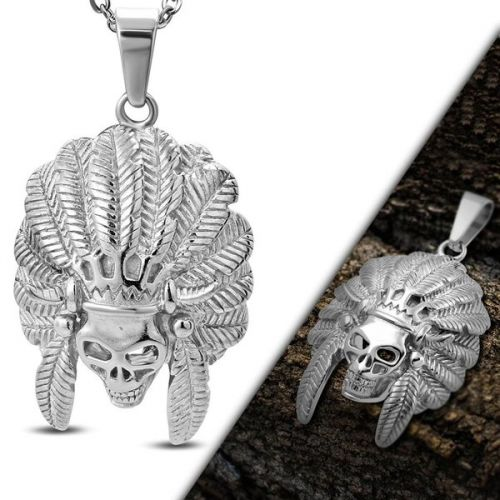 Skull Indian Chief Pendant Necklace